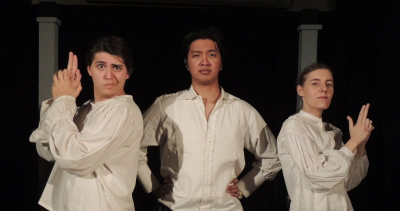Three ACC drama students on stage