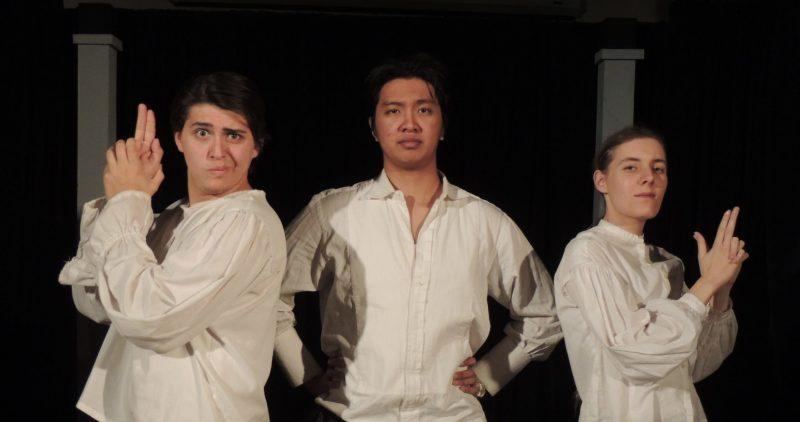 Three ACC drama students on stage